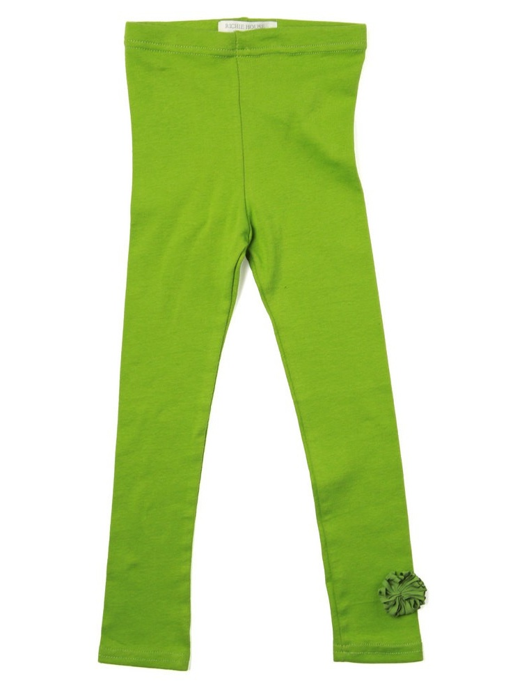 Richie House Little Girls Lime Green Ruffle Accent Stretch Pants 3
