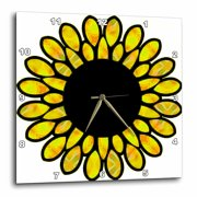3dRose Big Patterned Round Petal Flower, Wall Clock, 10 by 10-inch
