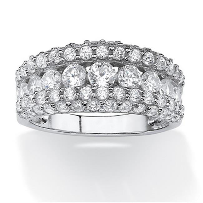 PalmBeach Jewelry 547127 1. 26 TCW Round CZ Row Ring in Platinum over Sterling Silver - Size 7