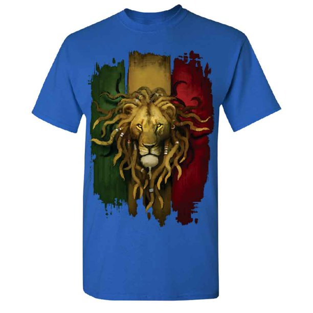 Rasta Lion Rastafarian Haile Selassie Men's T-shirt Tee Royal Blue Small