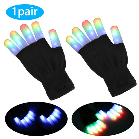 EEEkit LED Flashing Finger Lights Gloves, Kids Light Gloves Children Finger Light Flashing LED Warm Gloves with Lights, for Birthday Light Party Christmas Xmas Dance Gifts(Pair) - Gloves With Led Lights