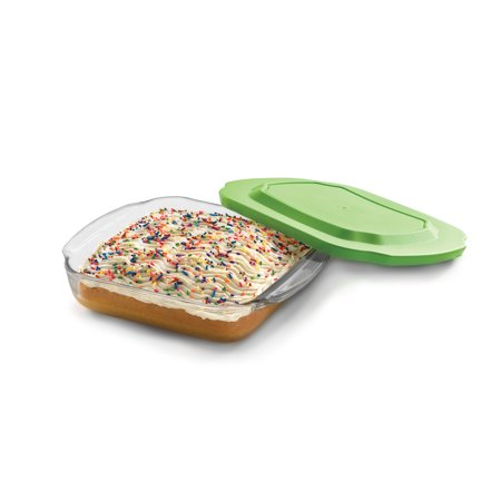 Libbey Baker's Basics Square Glass Casserole Baking Dish with Plastic Lid, 8-inch by - Plastic Glasses With Lids