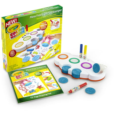 Crayola Color Wonder Magical Mess Free Light-Up Stamper, Includes paper,  Mess Free Markers and 10 Stamps