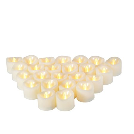 Battery Operated Tea Lights Bulk (Flameless LED Battery Operated Tealight Candles Bright Flickering Electric Fake Decorative Lights Bulk Christmas Party Wedding Décor Decorations Unscented Set of 24 Long Lasting Batteries)