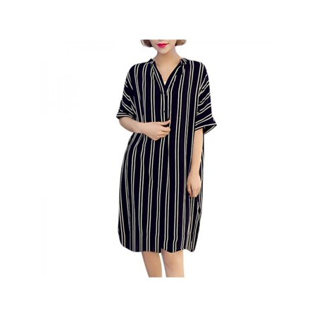Casual Womens Plus Size Short Sleeve T-Shirt Dress Stripe Casual Mini Dress (Mini Stripe Dress Shirt)