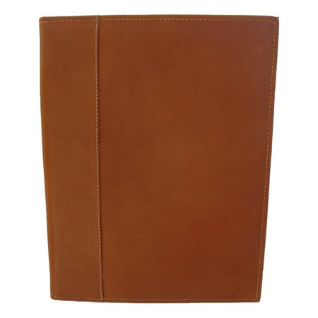 Letter-Size Leather Padfolio with Full Organizer in Saddle