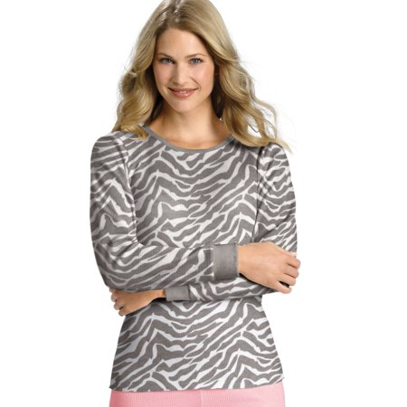X-Temp Women`s Thermal Printed Crew - Best-Seller, 25452, M, Grey