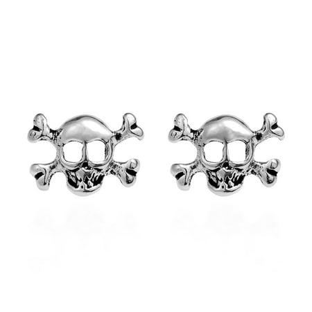 Stylish Sterling Silver Skull & Crossbones Post Stud Earrings