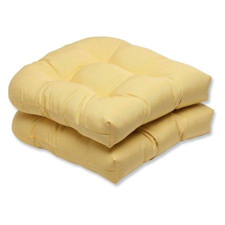 Pillow Perfect Outdoor/ Indoor Wicker Seat Cushion with Yellow Sunbrella Fabric (Set of - Sunbrella Fabric Seat