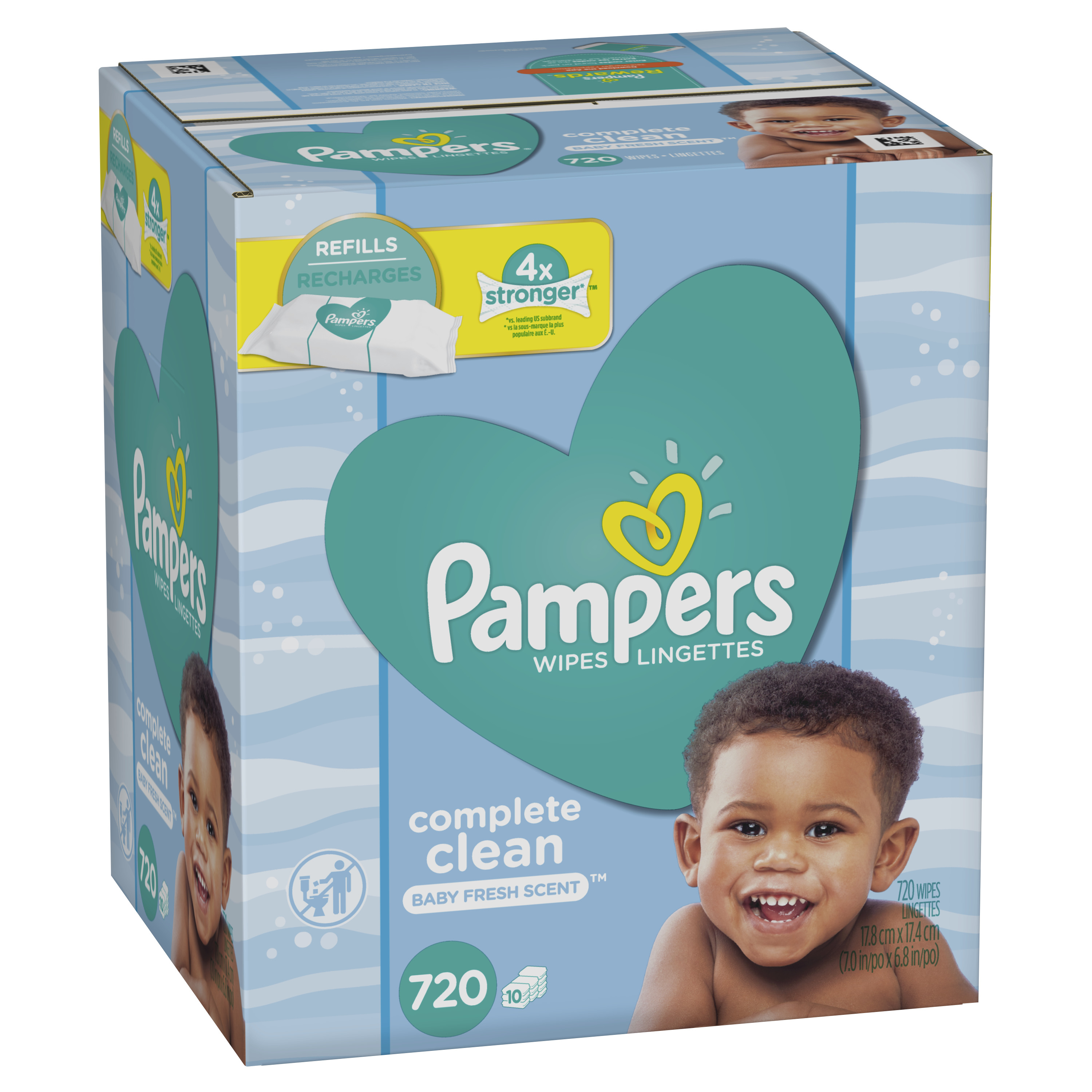 Pampers Baby Wipes, Complete Clean Scented, 10X Refill (Tub Not Included), 720 Count