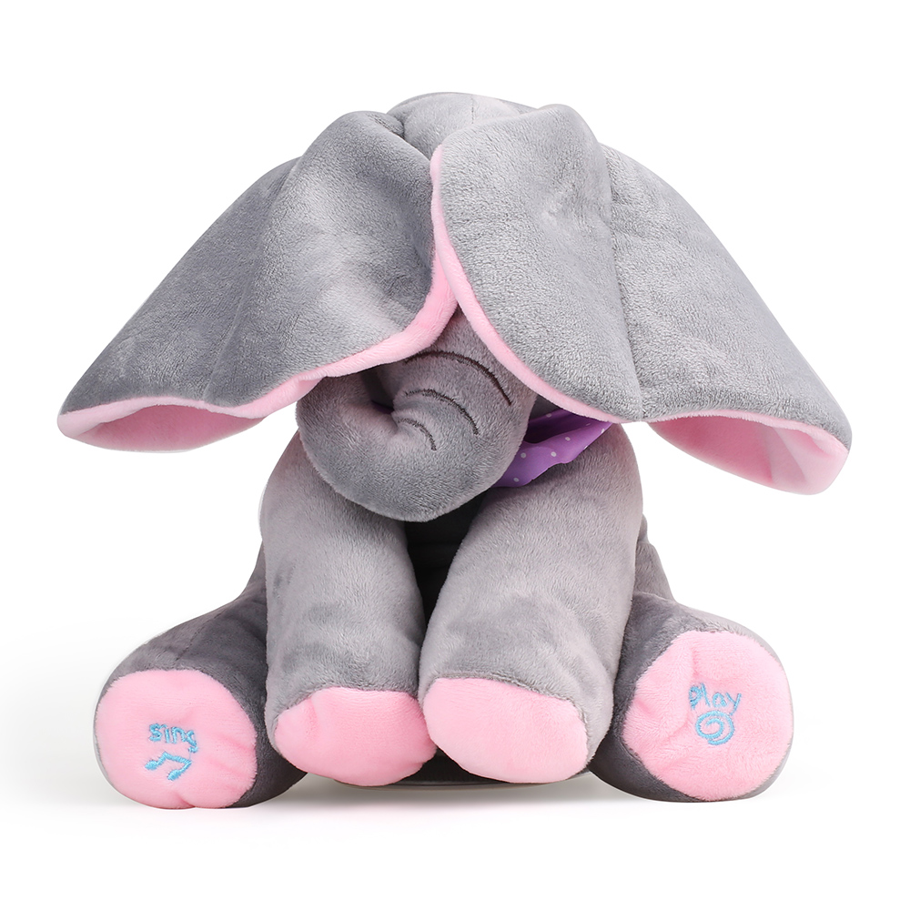 Plush Toy Peek A Boo Musical Elephant Baby Children Stuffed