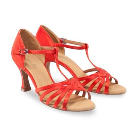Sansha Adult Red Satin Upper Woven T-Bar Juanita Ballroom Shoes Womens