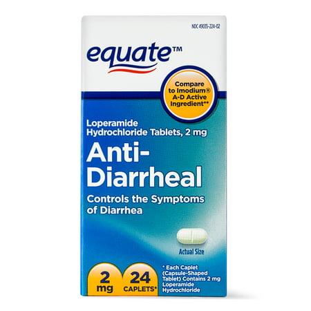 Equate Anti Diarrheal Loperamide Hydrochloride Caplets 2 Mg 24 Ct