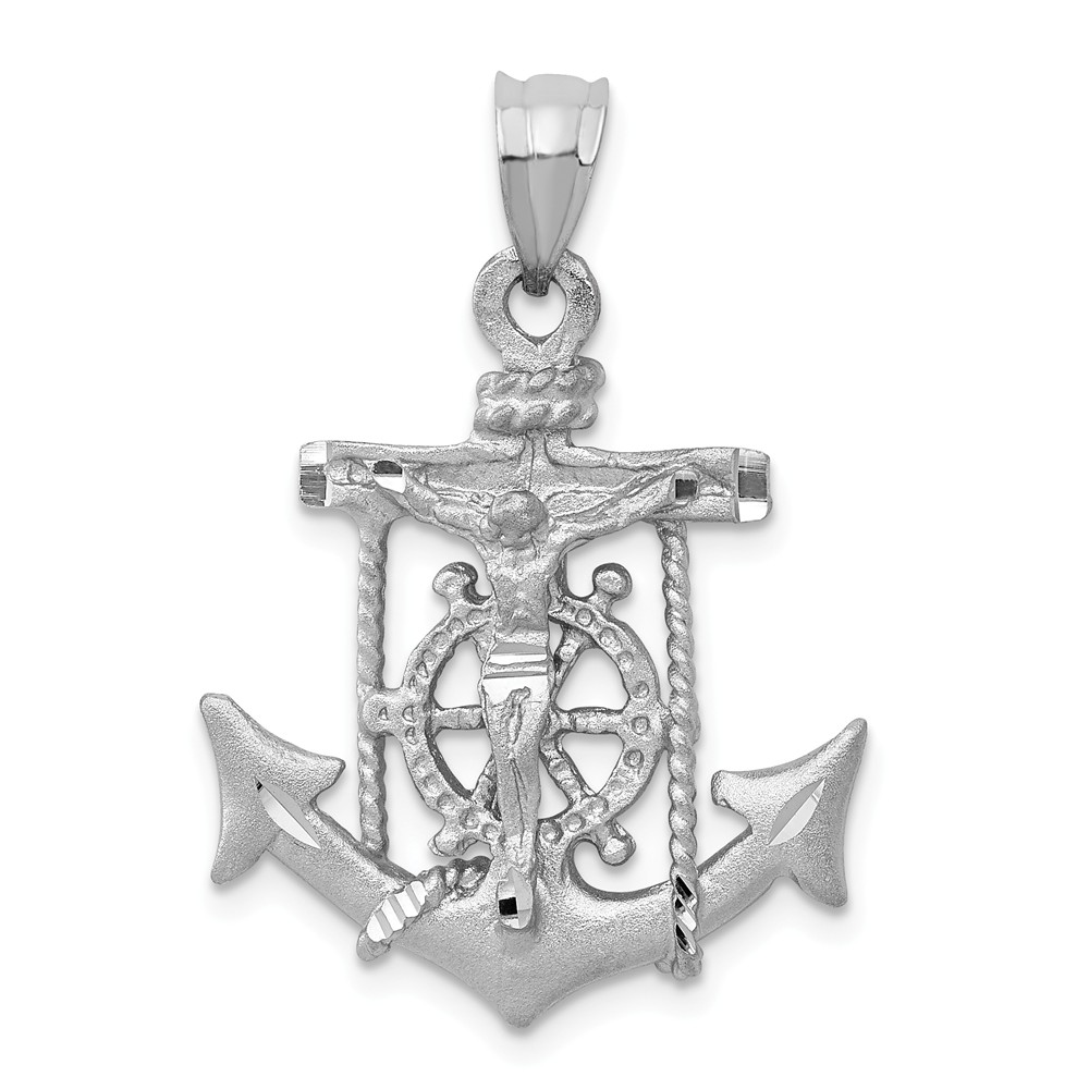14k White Gold Mariners Cross Crucifix Pendant