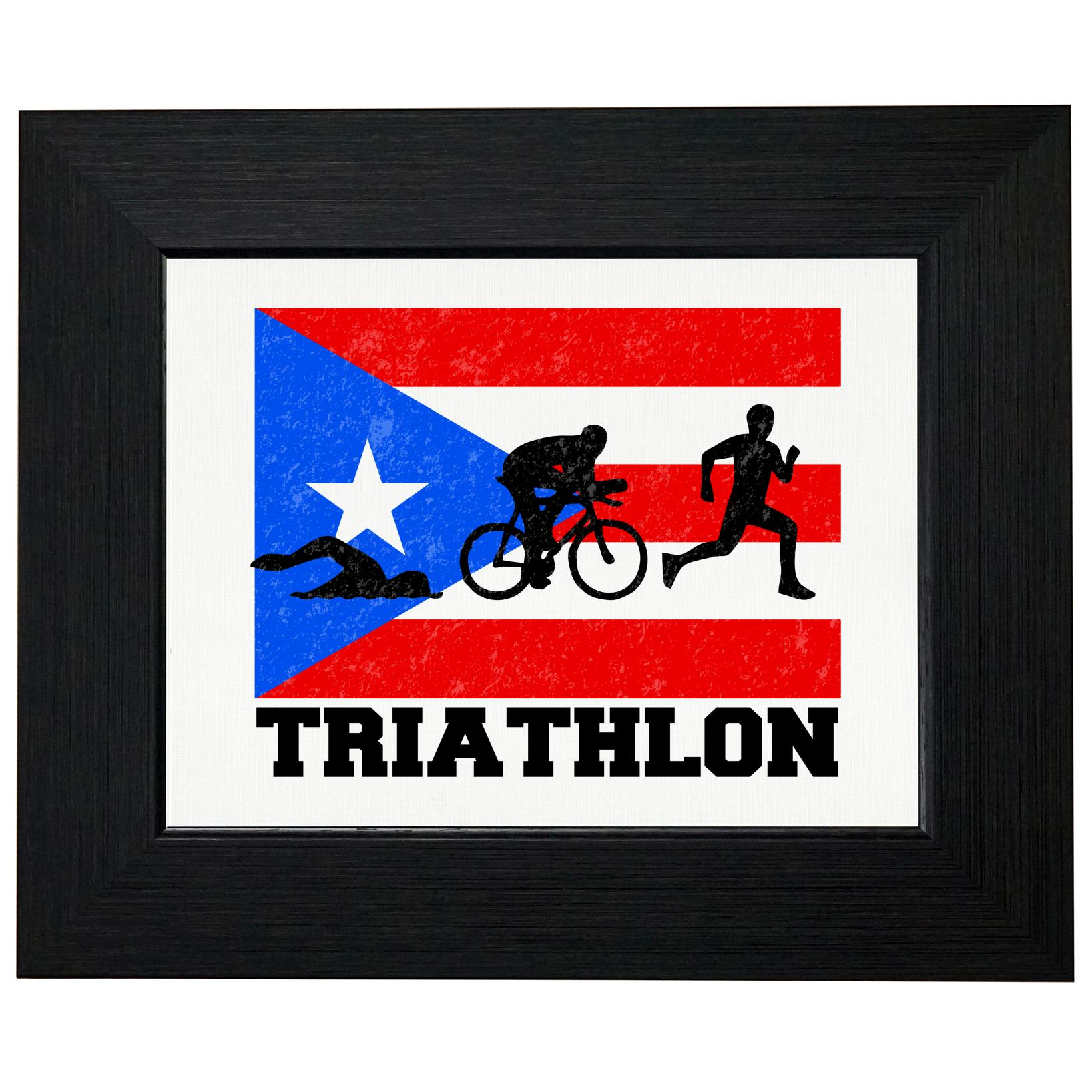 Puerto Rico Olympic - Triathlon - Flag Framed Print Poster Wall or Desk Mount Options
