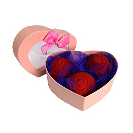 Peach Couture  Womens Rose Fold Bouquet Cotton Crew Socks Red 3 Pack Heart Box (Bouquet Heart Box)