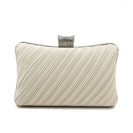 Elegant Pleated Satin Hard Clutch Rhinestones Top Evening Bag