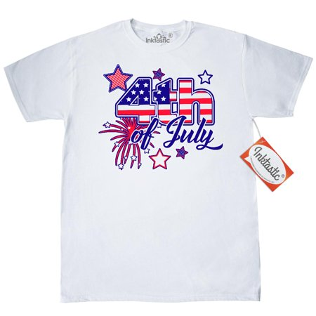 Inktastic 4Th Of July Fireworks Stars And American Flag T Shirt Fourth Patriotic Red White Blue America Usa United States Independence Day Mens Adult Clothing Apparel Tees T Shirts