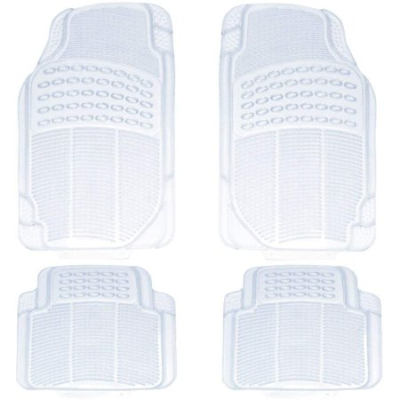 4pc Car Truck Suv Clear Waterproof Transparent Plush Thick Rubber Floor Mats Front Rear Full Set