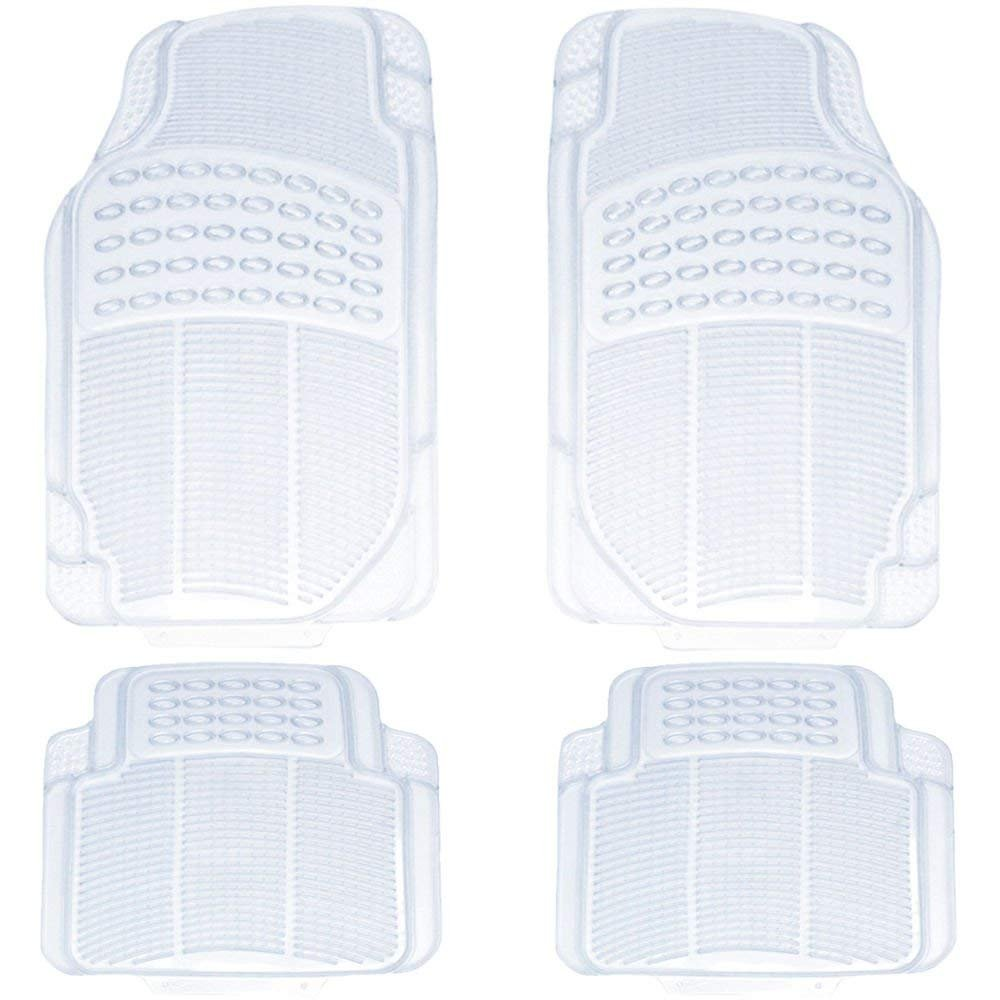4pc Car Truck Suv Clear WaterProof Transparent Plush Thick Rubber Floor Mats Front & Rear Full Set