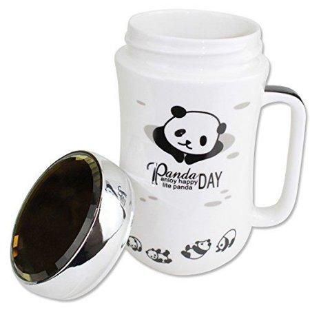 (Cute Panda Ceramic Porcelain Coffee Mug with Crystal Glass Lid Gift)