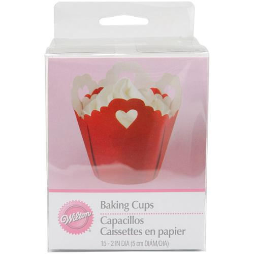 Wilton Eyelet Hearts Pleated Standard Baking Cups (Pack of 15)