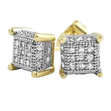 Pave Cube (Small 3D Cube Gold CZ Micro Pave Iced Out Earrings )