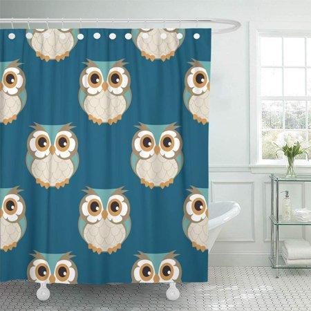 PKNMT Colorful Animal Owl Beautiful Bird Black Cartoon Character Cheerful Child Bathroom Shower Curtains 60x72 inch ()