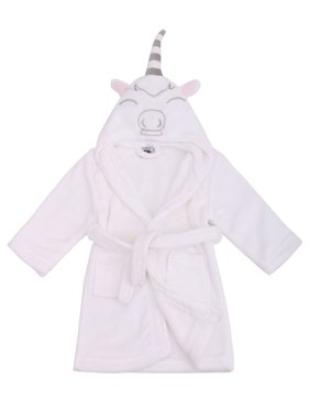 Girls Robe Animal Plush Soft Hooded Terry Bathrobe,Unicorn White,S(1-3 Years)