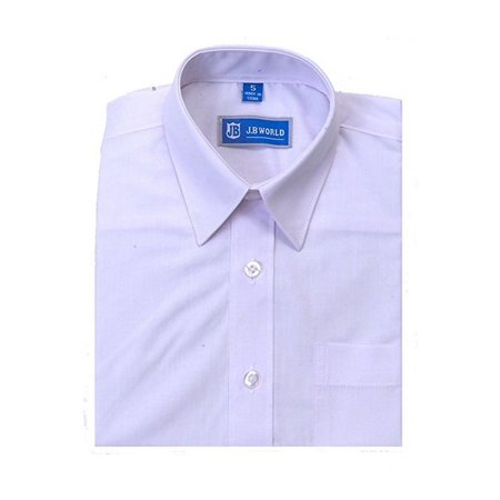 JB World Boys White Short Sleeve Button Front Uniform Dress Shirt - White Dress Shirt Boys