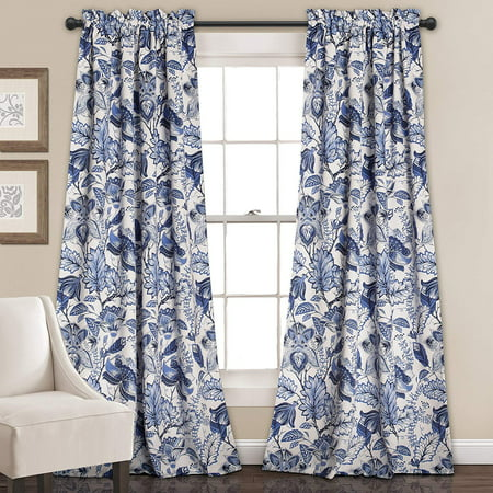 2 PC Blackout Window Curtain Flower Pattern panel Energy Saver with Rod Pocket Hemmed in 2 colors 55