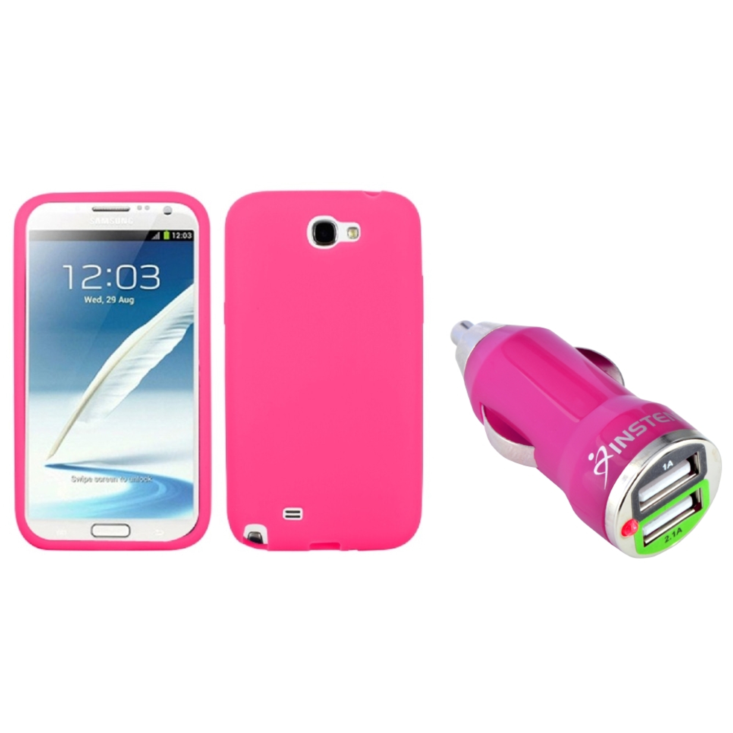 Insten Electric Pink Skin Case+Dual USB Car Charger Adapter For Samsung Galaxy Note 2