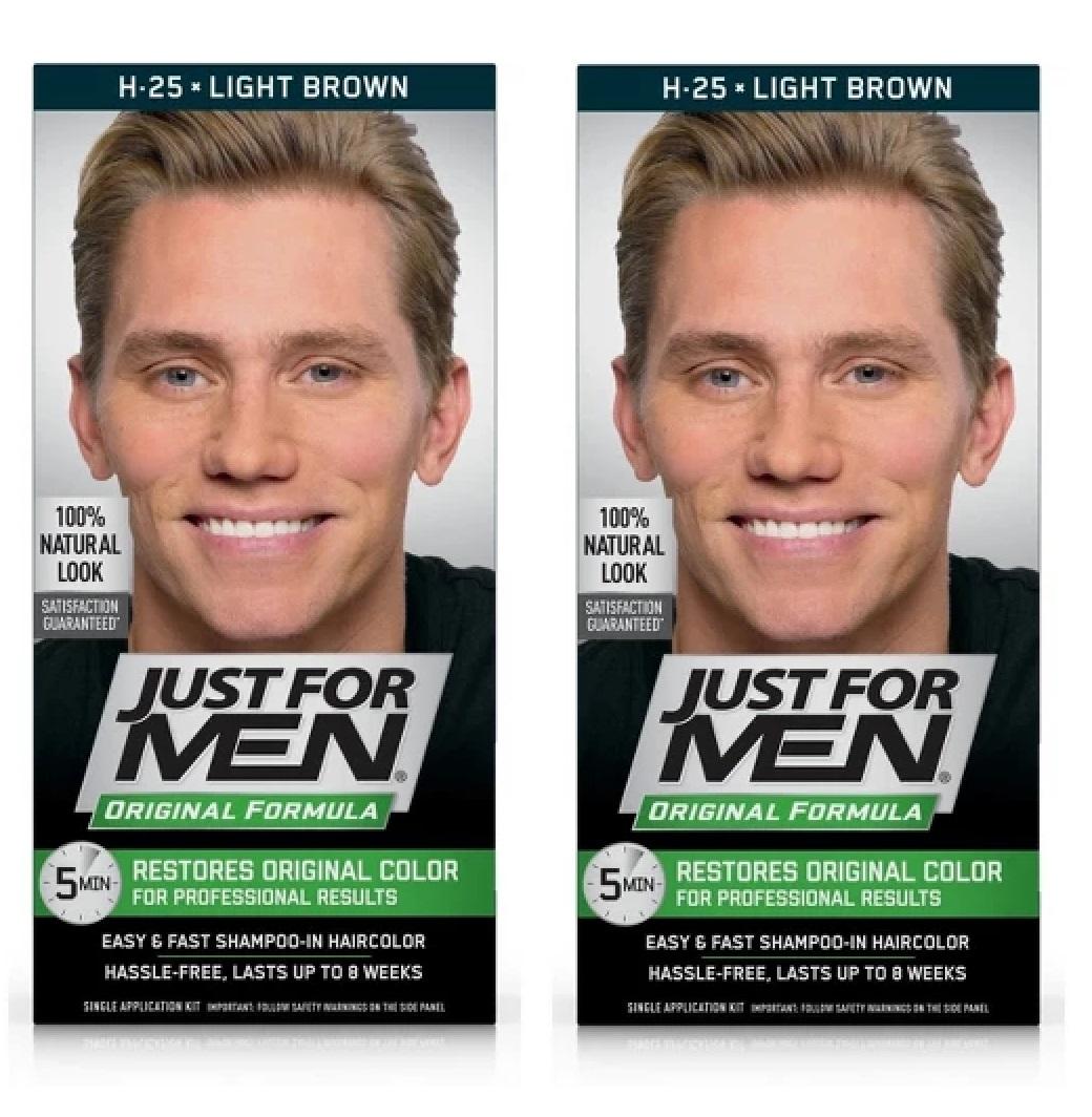 Just For Men Original Formula, Restores Original Color, H25 Light Brown (Pack of 2)