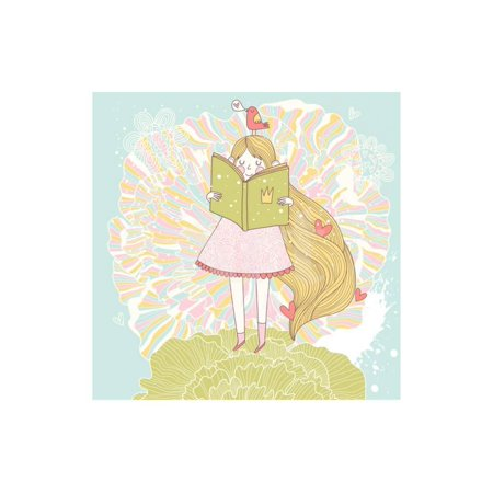 Pastel Princess (Book Reading Princess in Pastel Colors. Vector Card with Cute Girl Reading Fairy Book. Cartoon Summ Print Wall Art By)