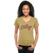 Charleston Cougars Women's Classic Wordmark Tri-Blend V-Neck T-Shirt - Khaki