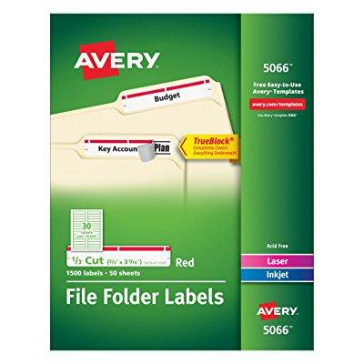 avery red file folder labels for laser and inkjet printers with trueblock technology, 2/3 x 3-7/16 inches, box of 1500 - Avery Laser Printer File Folder