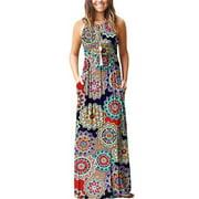 Hawaiian Holiday dresses For Women Floral Print Long Maxi Boho Dress Sleeveless Evening Party Beach Sundress Blue Print M