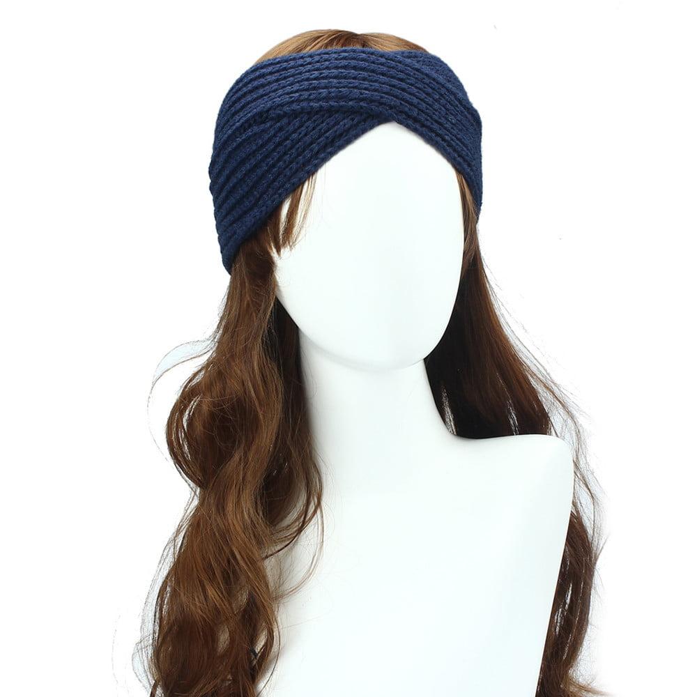 Women Winter Ear Warmer Headwrap Double Color Headband Knit Flower Hairband