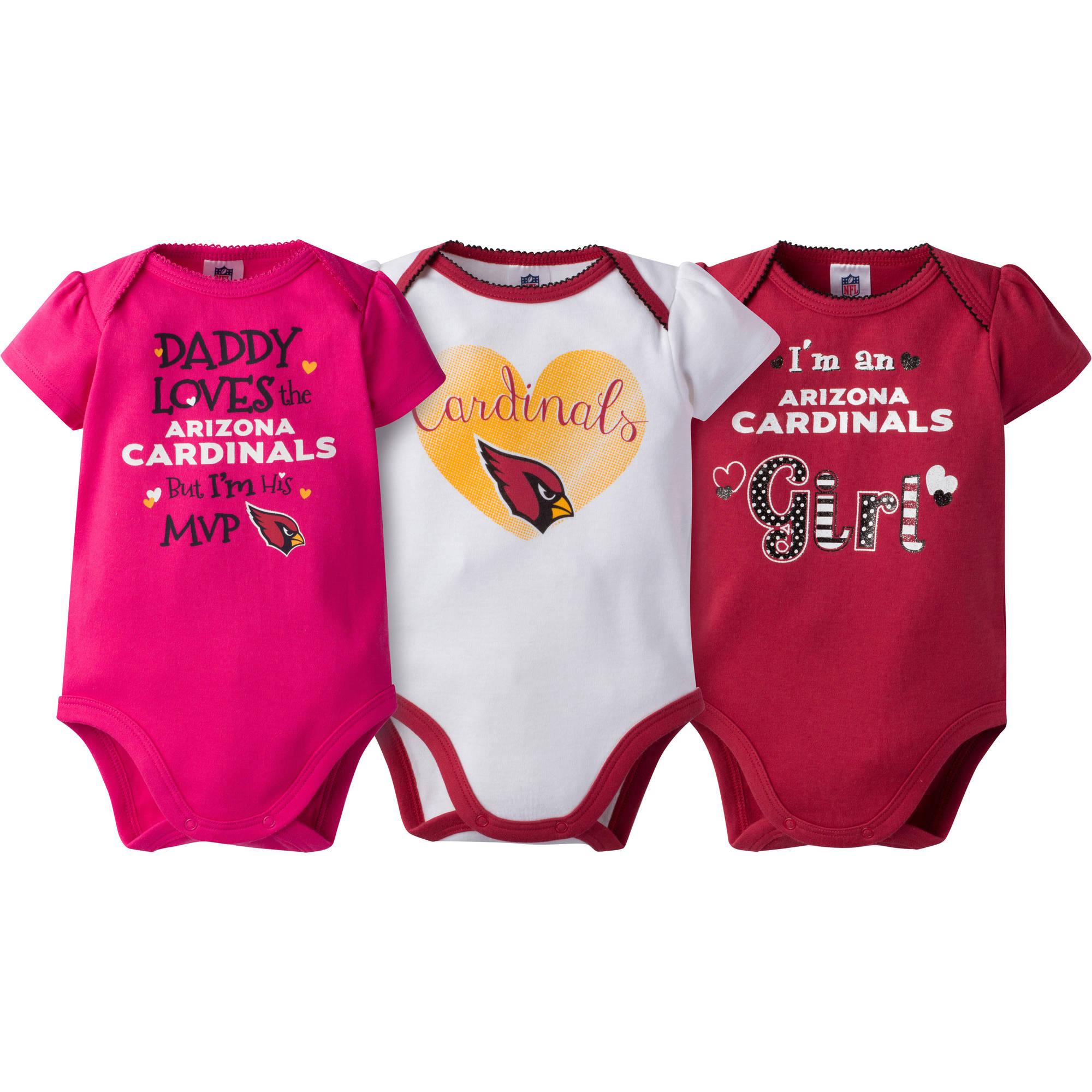 NFL Arizona Cardinals Baby Girls Short Sleeve Bodysuit Set, 3-Pack