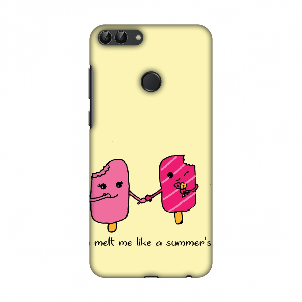 Huawei Enjoy 7S Case, Huawei P Smart Case - Ice Bar Couple- Yellow,Hard Plastic Back Cover, Slim Profile Cute Printed Designer Snap on Case with Screen Cleaning Kit