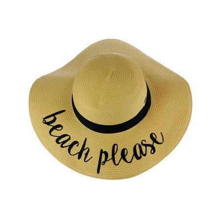 1c5324605f2ff C.C - C.C Women s Paper Weaved Crushable Beach Embroidered Quote Floppy  Brim Sun Hat
