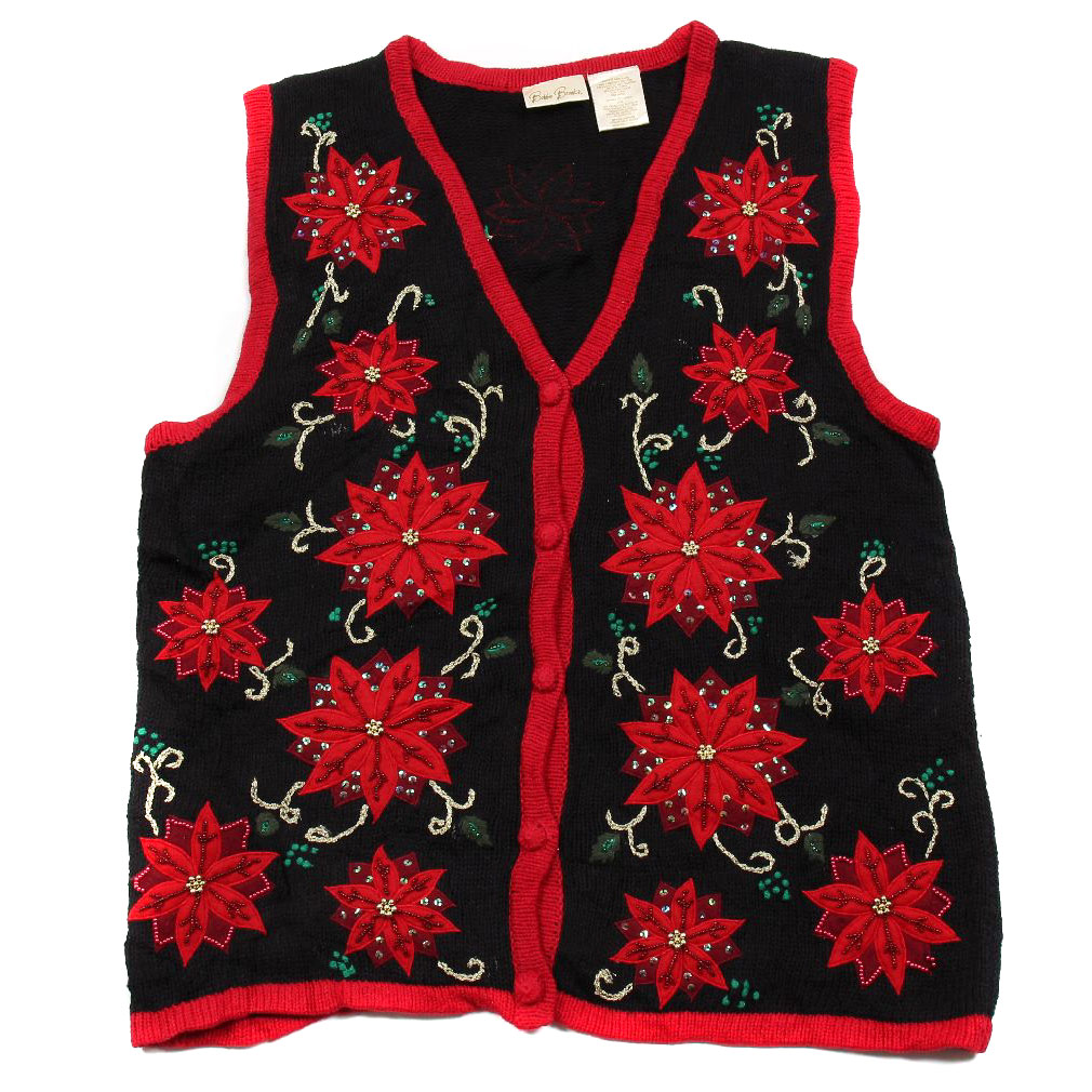 BuyYourTies - XVEST-2698 - Black - Ugly Christmas Sweater Vest - Ladies - Small