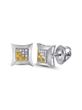 FB Jewels Sterling Silver Unisex Round Color Enhanced Yellow Diamond Stud Earrings 1/20 Cttw