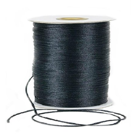 Black -(2 mm x 100 Yards) Rattail Satin Nylon Trim Cord Chinese Knot - Gold String