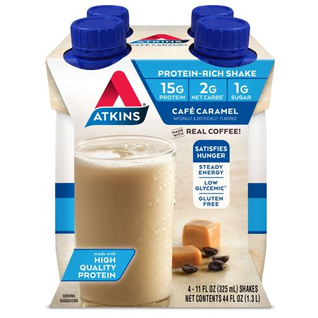 Atkins Gluten Free Protein-Rich Shake, Café Caramel, Keto Friendly, 4 Count (Ready to Drink) (Shake Die)