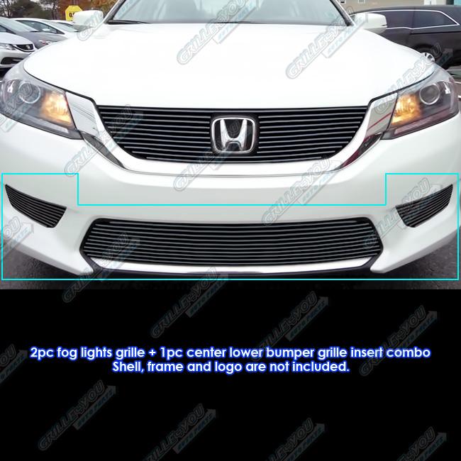 Fits 2013-2015 Honda Accord Sedan Bumper & Light Cover Black Billet Grille Combo #H61296H