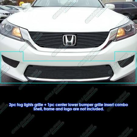 Honda Accord Billet Grille - Fits 2013-2015 Honda Accord Sedan Bumper & Light Cover Black Billet Grille Combo #H61296H