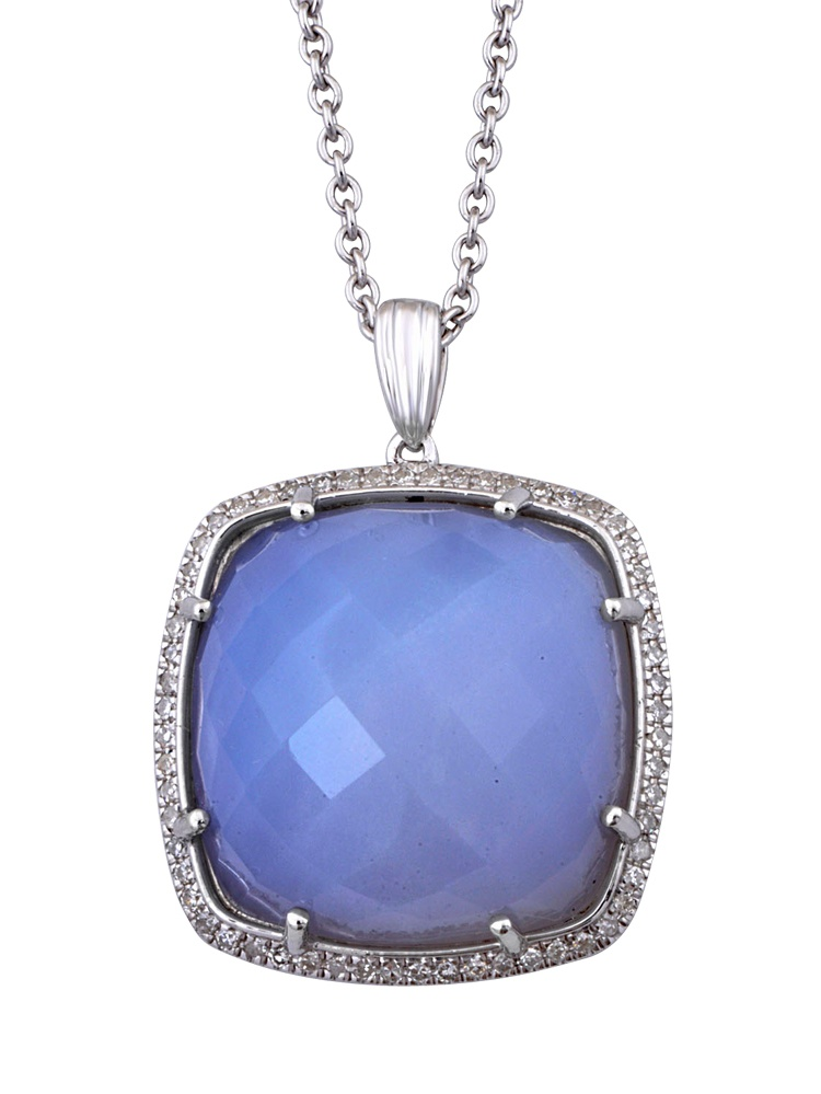 925 Sterling Silver Cushion shaped Rose Cut Chalcedony Color Diamond Pendant Necklace (1 4 Carat) by Diamond Delight