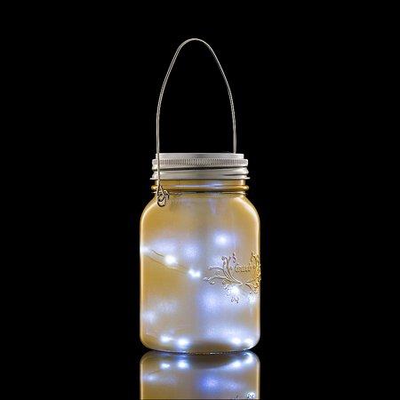 Fantado Regular Mouth Yellow Gold Mason Jar Light w/ Hanging Cool White Fairy LED Kit by PaperLanternStore ()