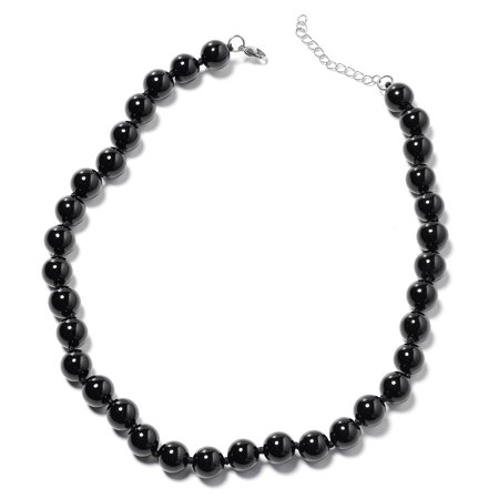 Stainless Steel Enhanced Black Agate Bead Strand Statement Necklace for Women Jewelry Gift 18